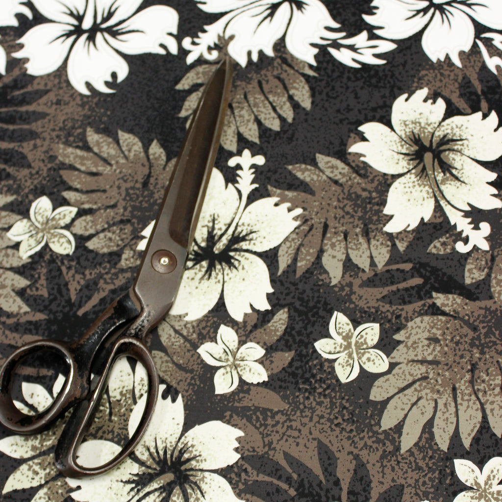 Hibiscus and Fern Black Fabric by the Yard