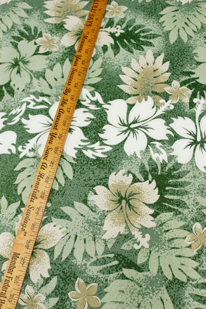 Hibiscus and Fern Green Fabric by the Yard