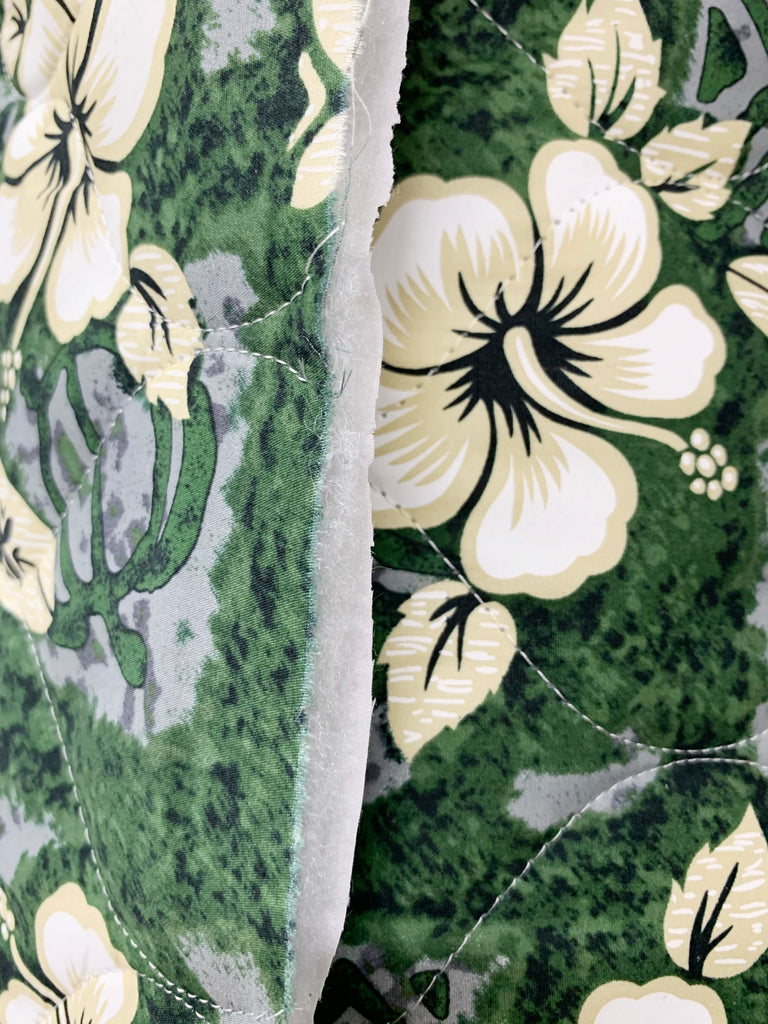 Hibiscus Surf Green Quilted Fabric