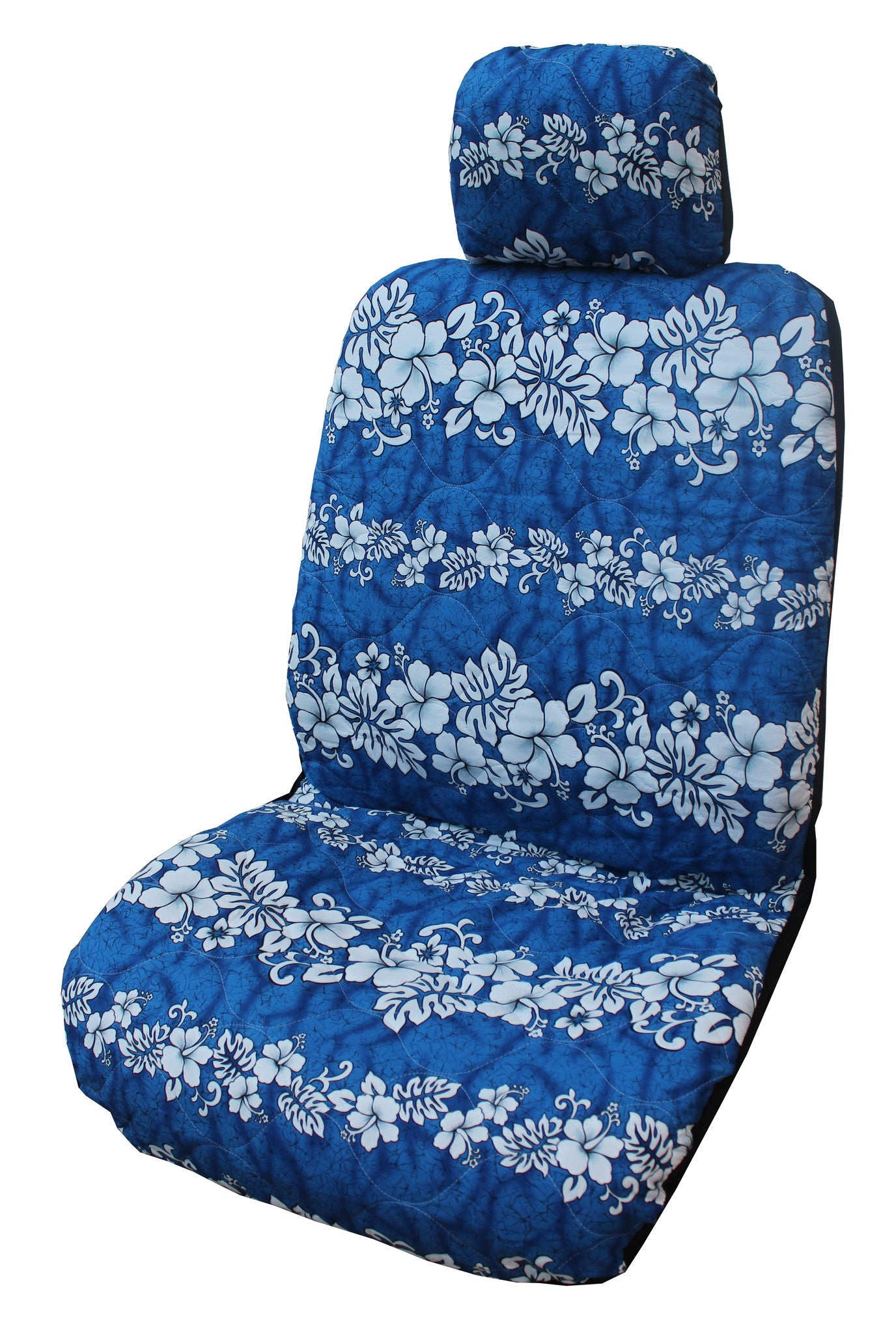 Navy Hibiscus Wave Separate Headrest Car Seat Cover Set Of 2