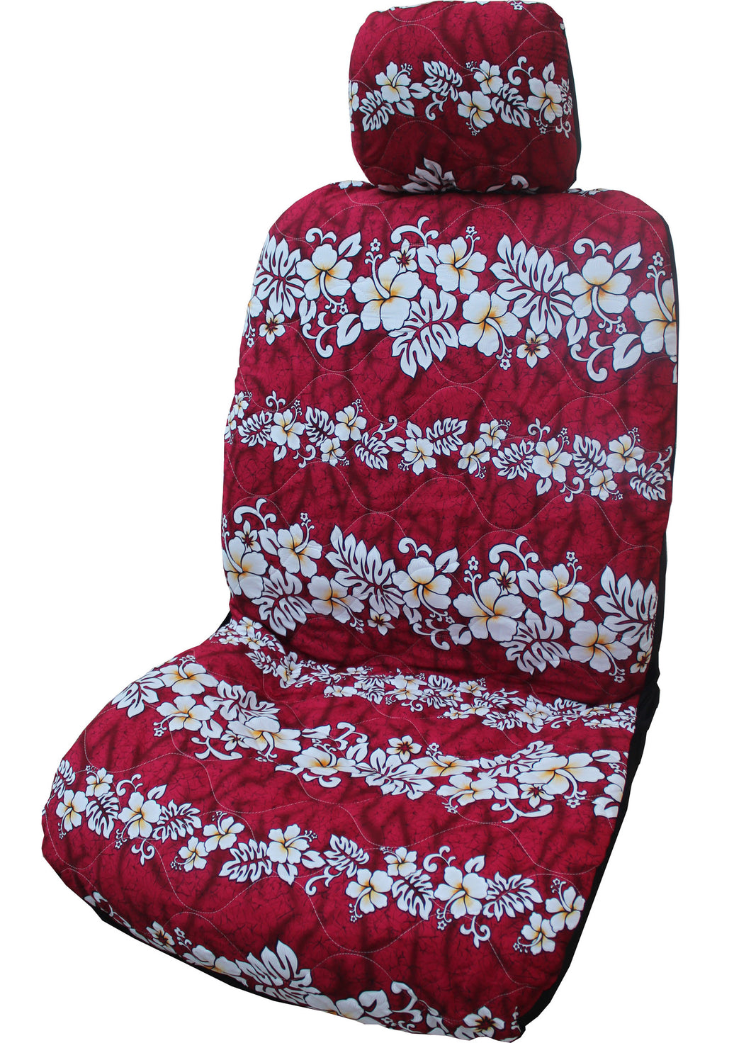 Red Hibiscus Wave Separate Headrest Car Seat Cover