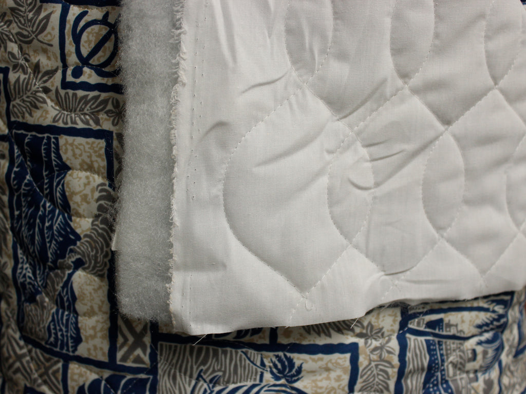 Iolani Palace Blue Quilted Fabric by the yard