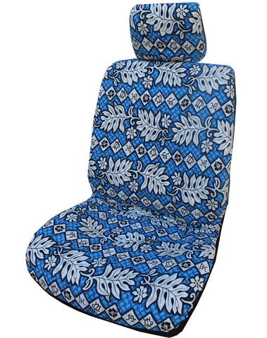 Blue Hawaiian Monstera Leaf Separate Headrest Car Seat Cover
