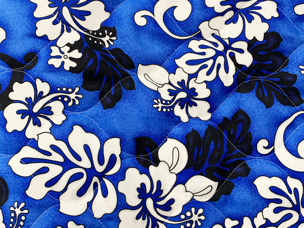 Monstera Shadow Blue Quilted Fabric by the yard