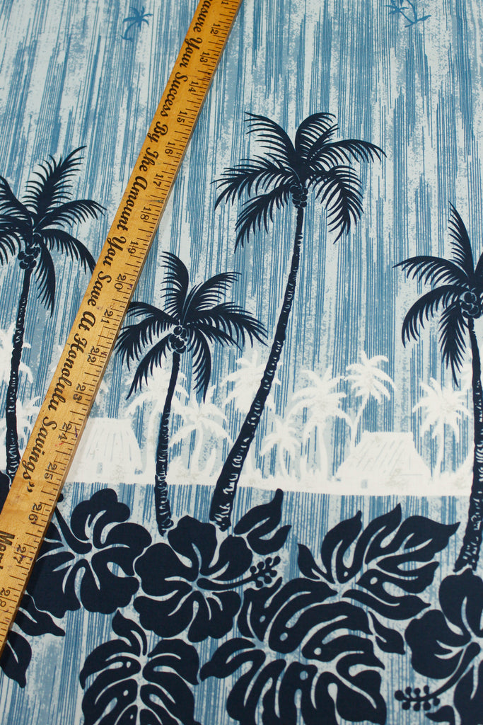 Palms Hawaiian Village Blue Fabric by the Yard