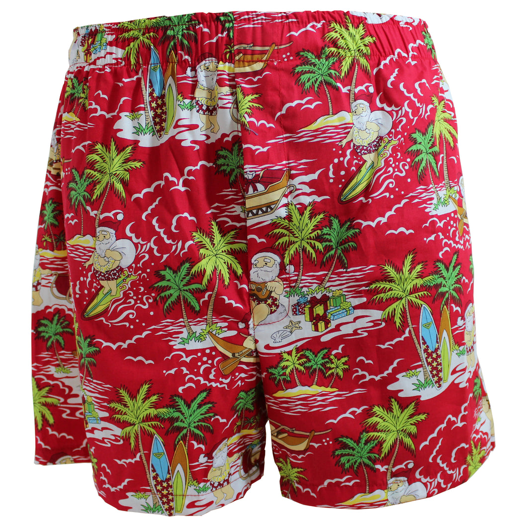Surfin' Santa Hawaiian Boxer Shorts