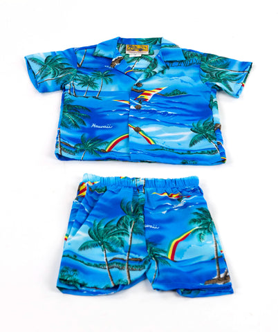 Boy's Hawaiian Rainbow Cabana Set (Shirt and Pants)