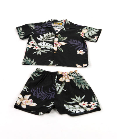 Boy's Bamboo Orchid Hawaiian Cabana Set (Shirt and Pants)