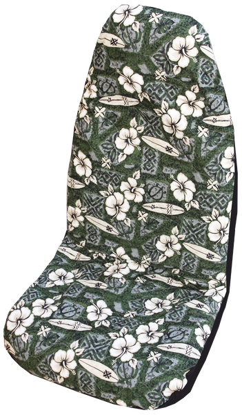 Green Hibiscus Surf Hawaiian Car Seat Cover