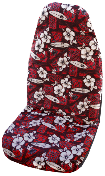 Red Hibiscus Surf Hawaiian Car Seat Cover
