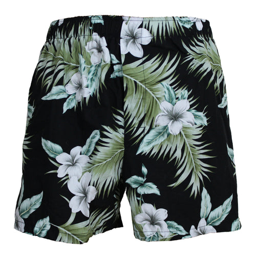 Hawaiian Plumeria Ferns Boxers in Black