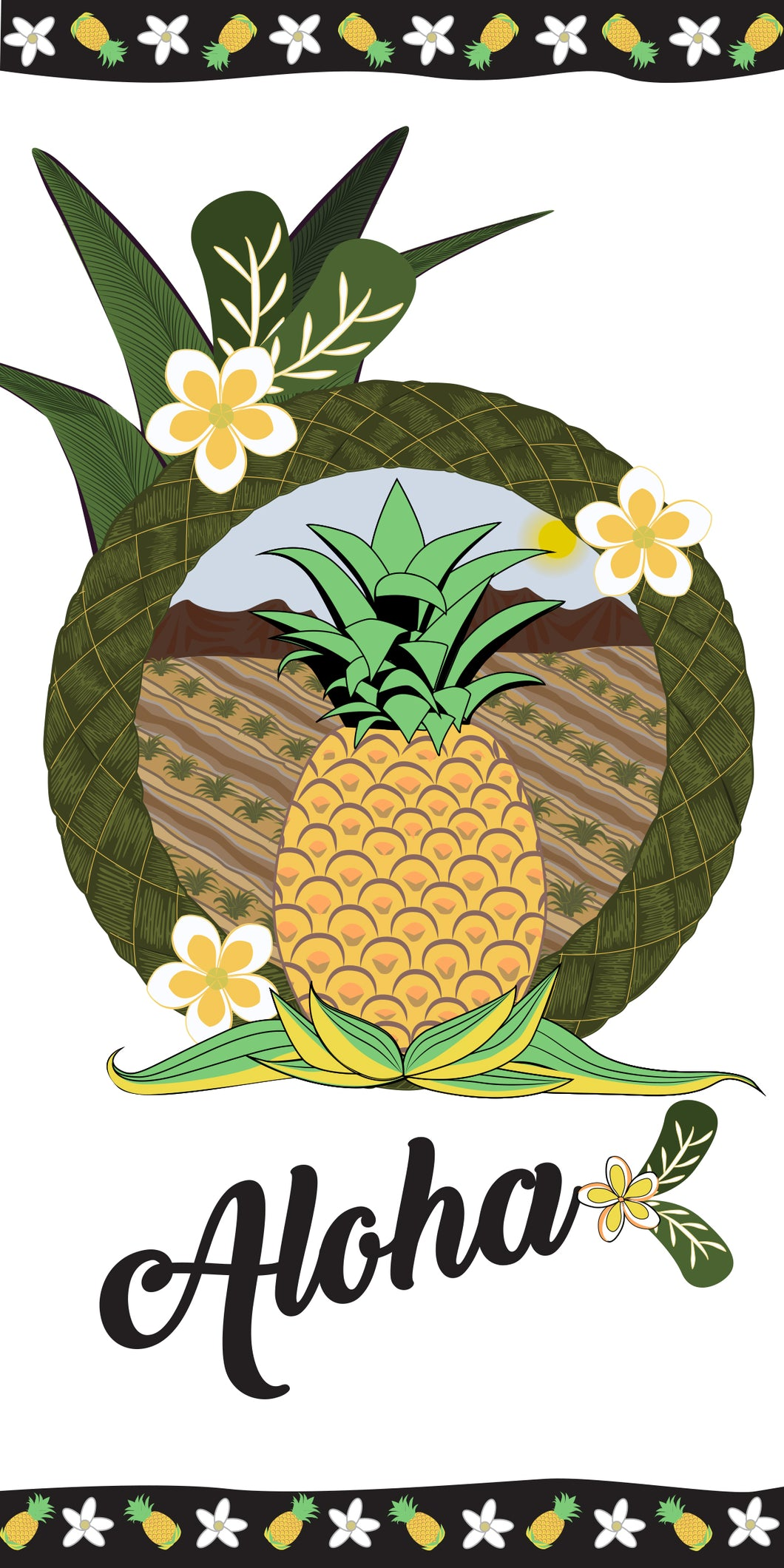 Hawaiian Pineapple Border Beach Towel