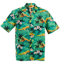Green 100 Sunsets Hawaiian Aloha Shirt