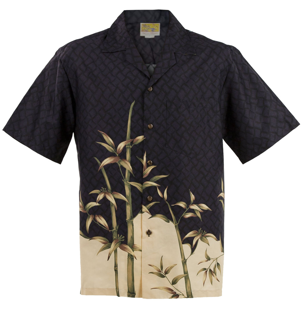 Black and Gray Bamboo Hawaiian Aloha Shirt