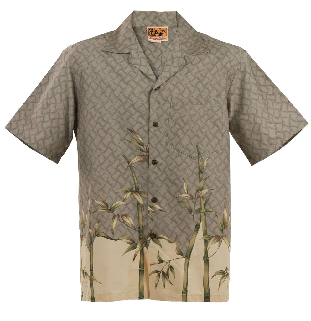 Gray and Beige Bamboo Hawaiian Aloha Shirt