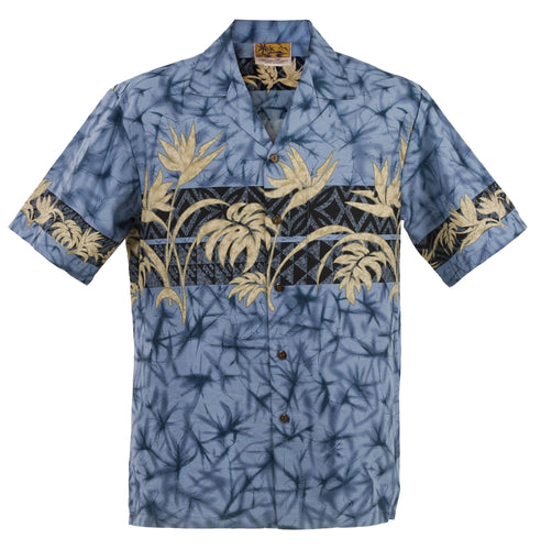 Slate Bird of Paradise Hawaiian Aloha Shirt