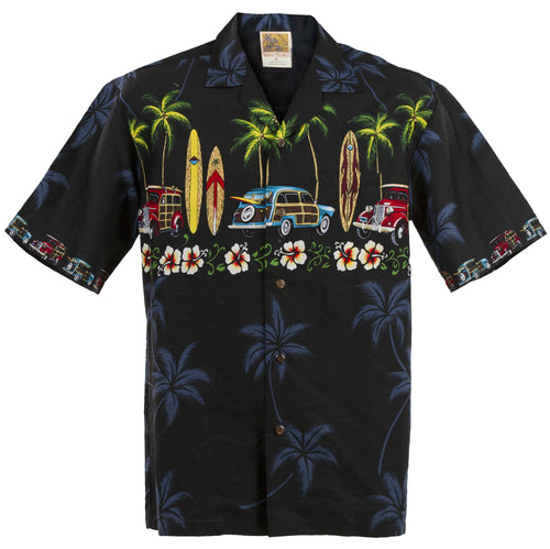 Black Classic Woody Hawaiian Aloha Shirt