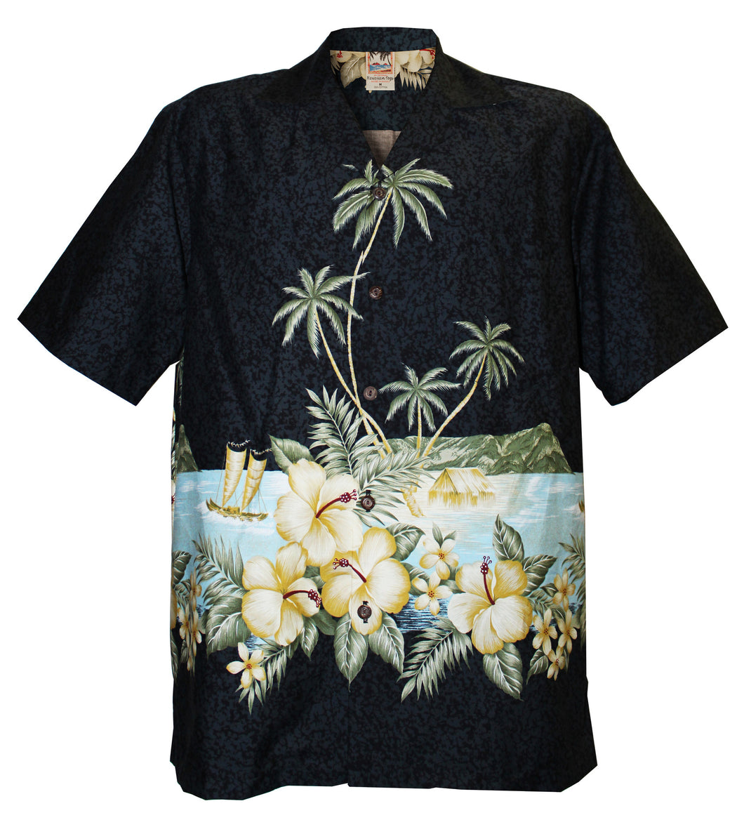 Black Diamond Head Hawaiian Aloha Shirt