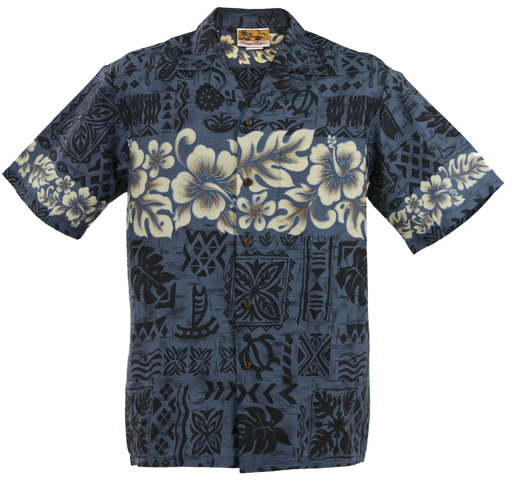 Navy Hibiscus Band Hawaiian Aloha Shirt