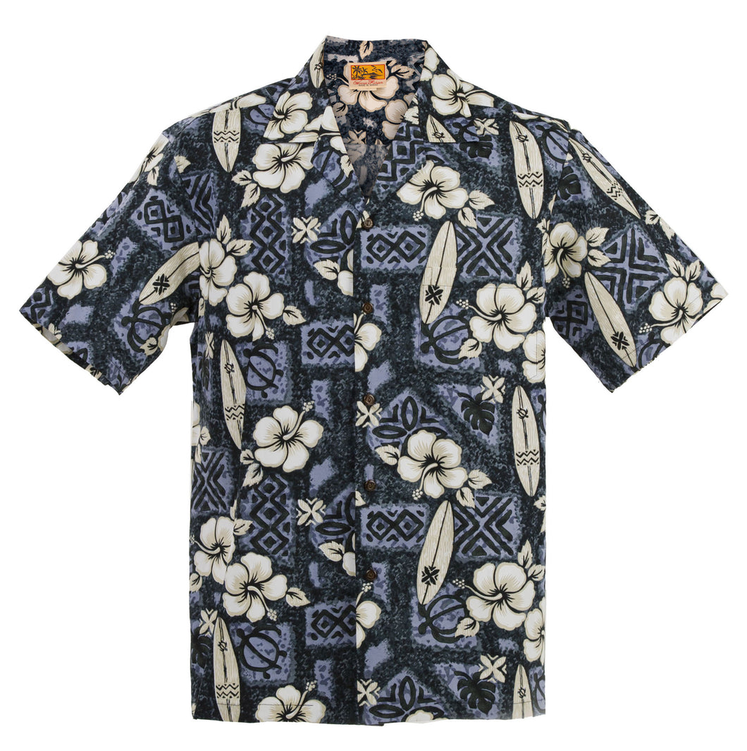 Black Hibiscus Surf Hawaiian Aloha Shirt