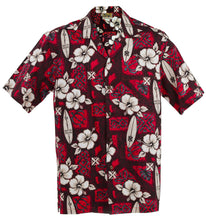 Red Hibiscus Surf Hawaiian Aloha Shirt