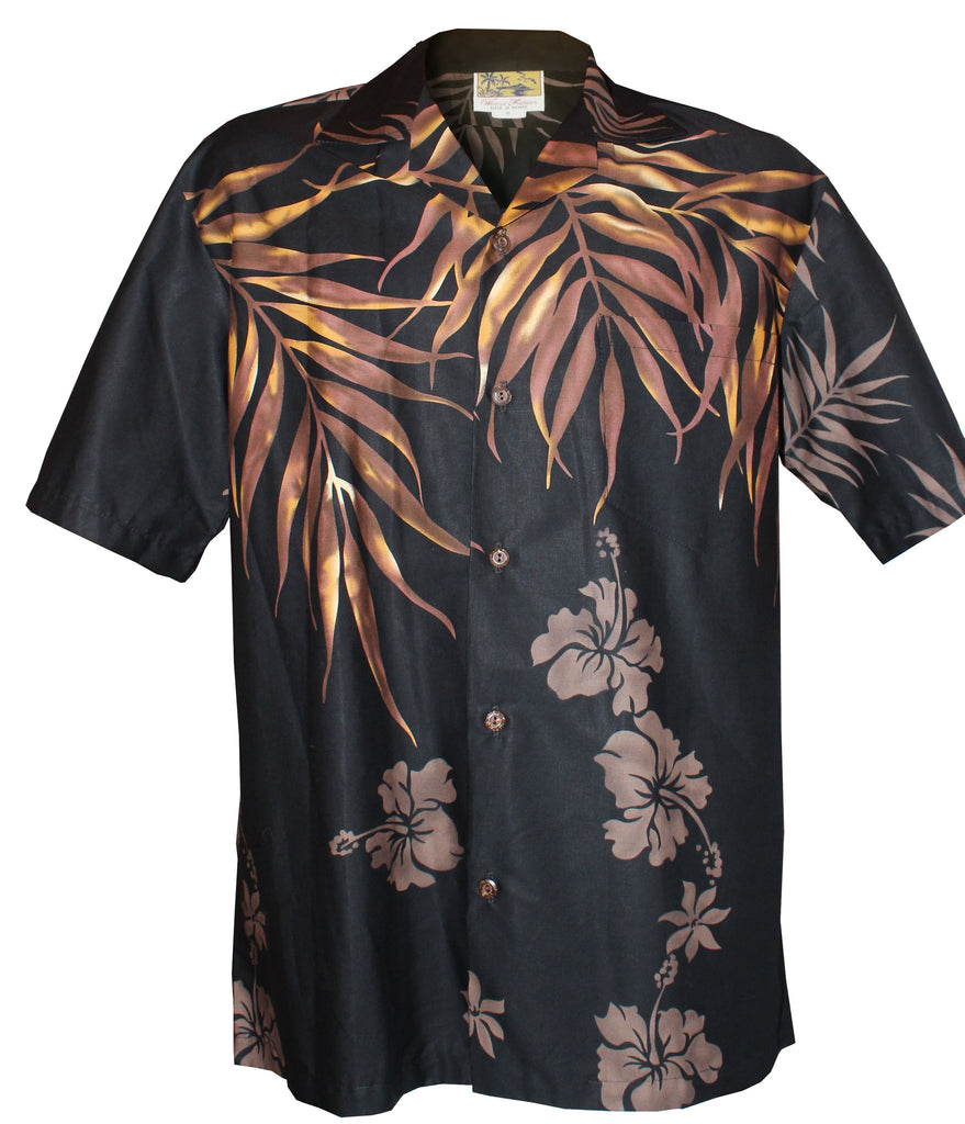 Black Shoulder Fern Hawaiian Aloha Shirt