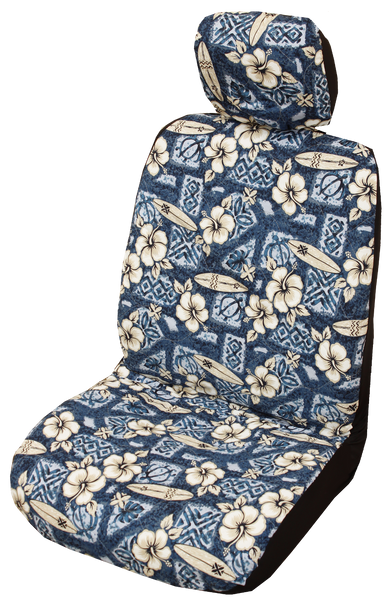 Blue Hibiscus Surf Hawaiian Separate Headrest Cover