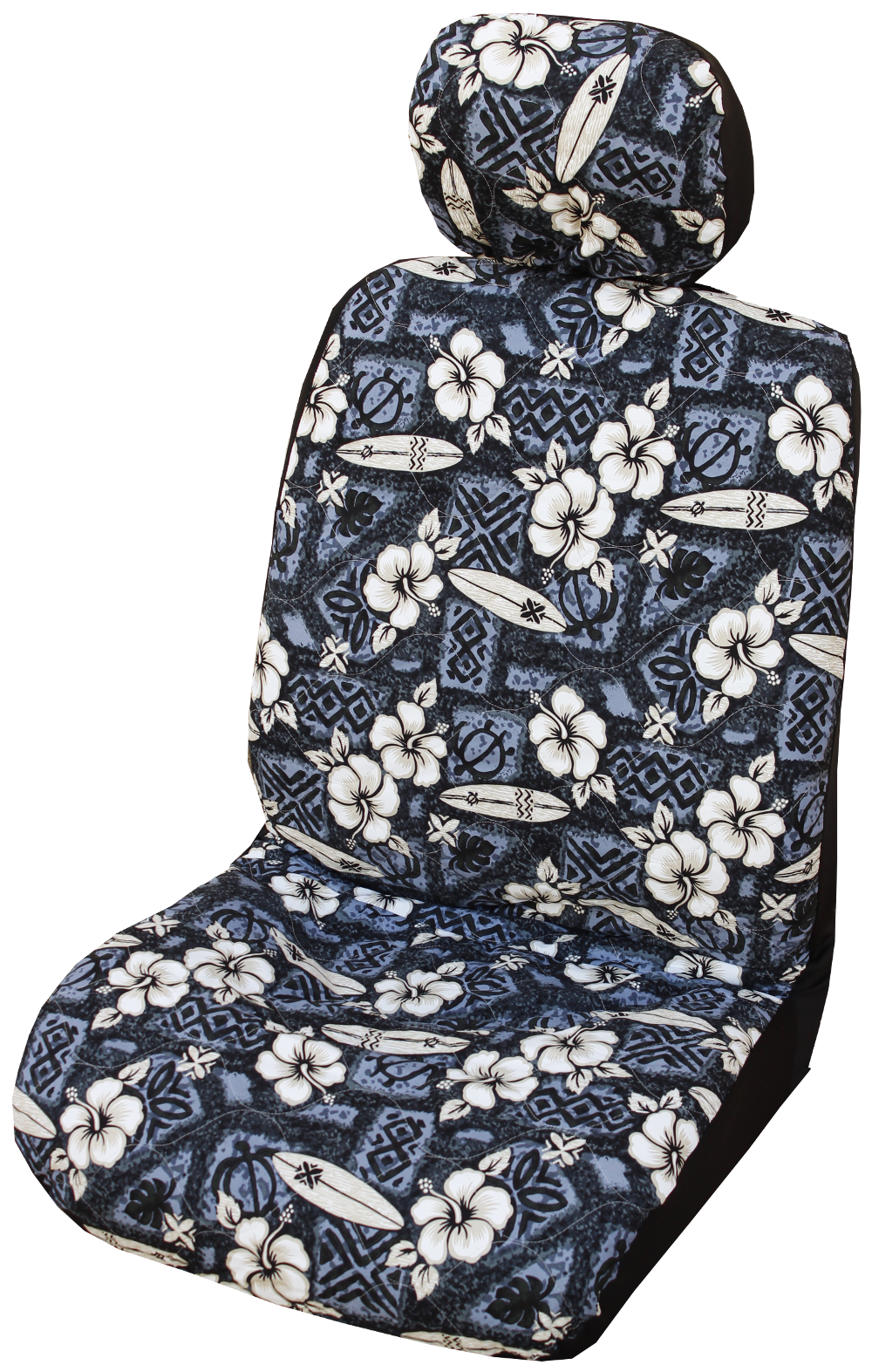 Gray Hibiscus Surf Hawaiian Separate Headrest Cover