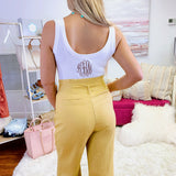 Monogrammed Riley Ribbed Bodysuit