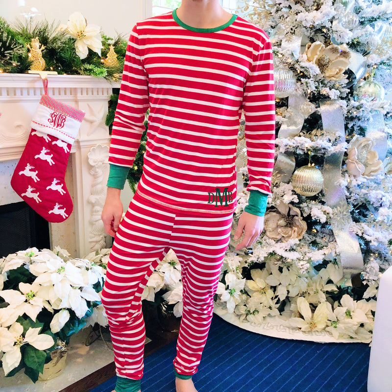 Monogram Mens Christmas Striped Pajama Set