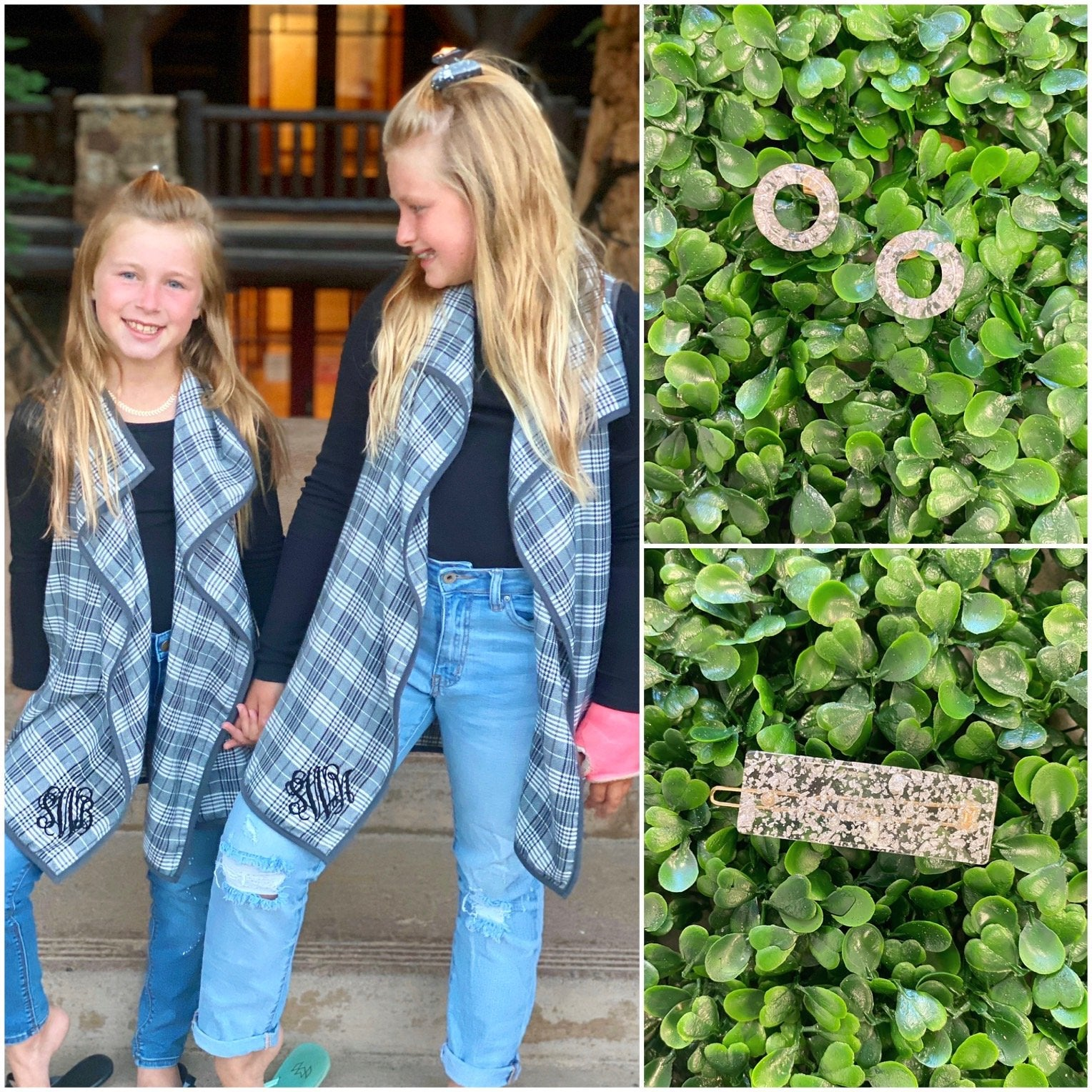 Monogram Girls Plaid Vest