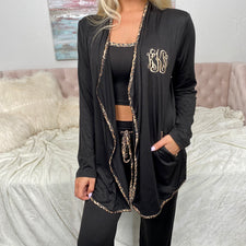 Monogram Leopard Trim Cardigan