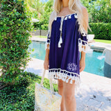 Monogram Navy Fringe Cover Up
