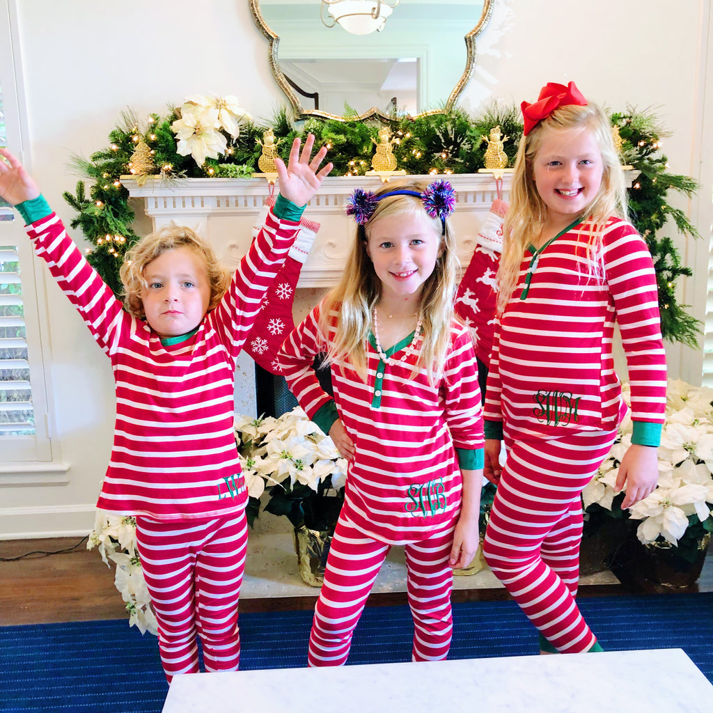 Kids Christmas Pajamas.Monogram Kids Christmas Striped Pajama Set