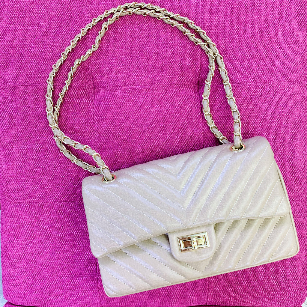 Taupe Chevron Quilted Handbag
