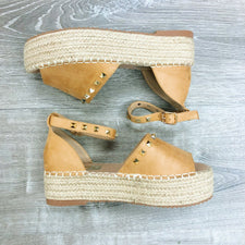 Monogram Braided Suede Wedges