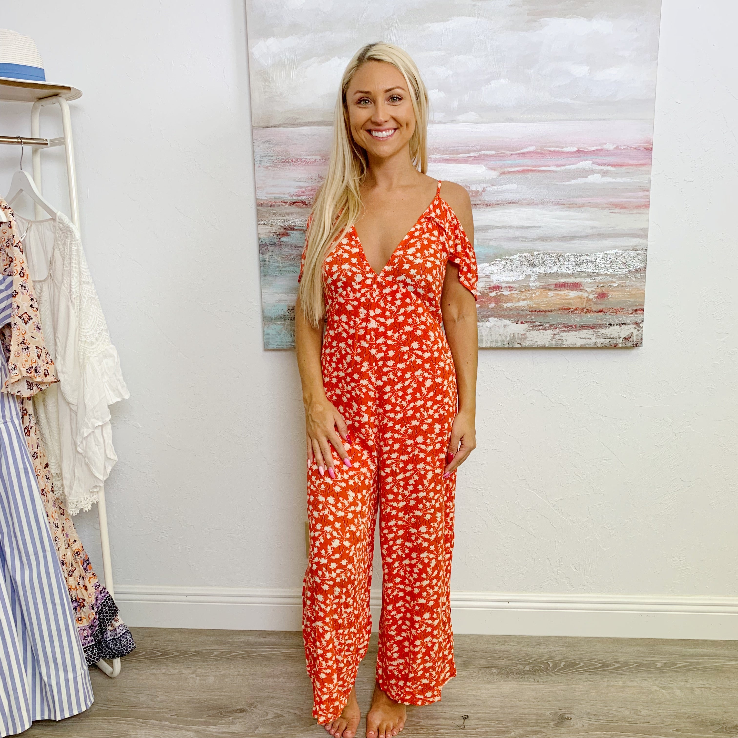 Red Ruffle Flowery Jumpsuit