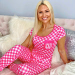 Monogram Pink Checkered Jogger Set