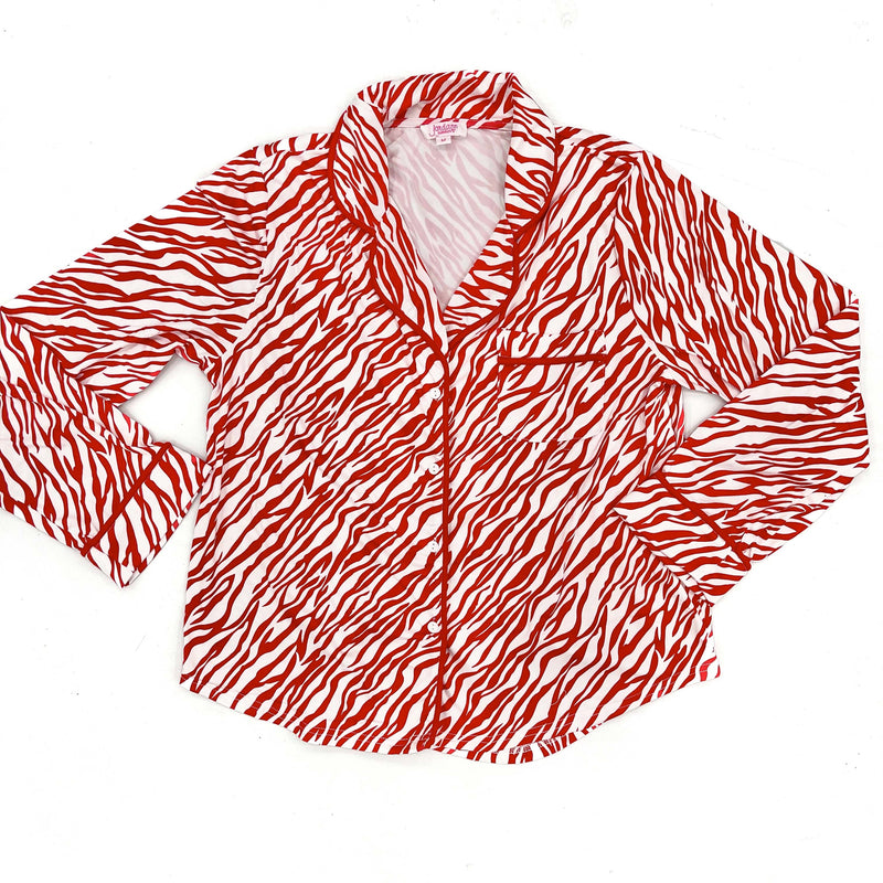 Red Zebra Long Sleeve Pajama Top