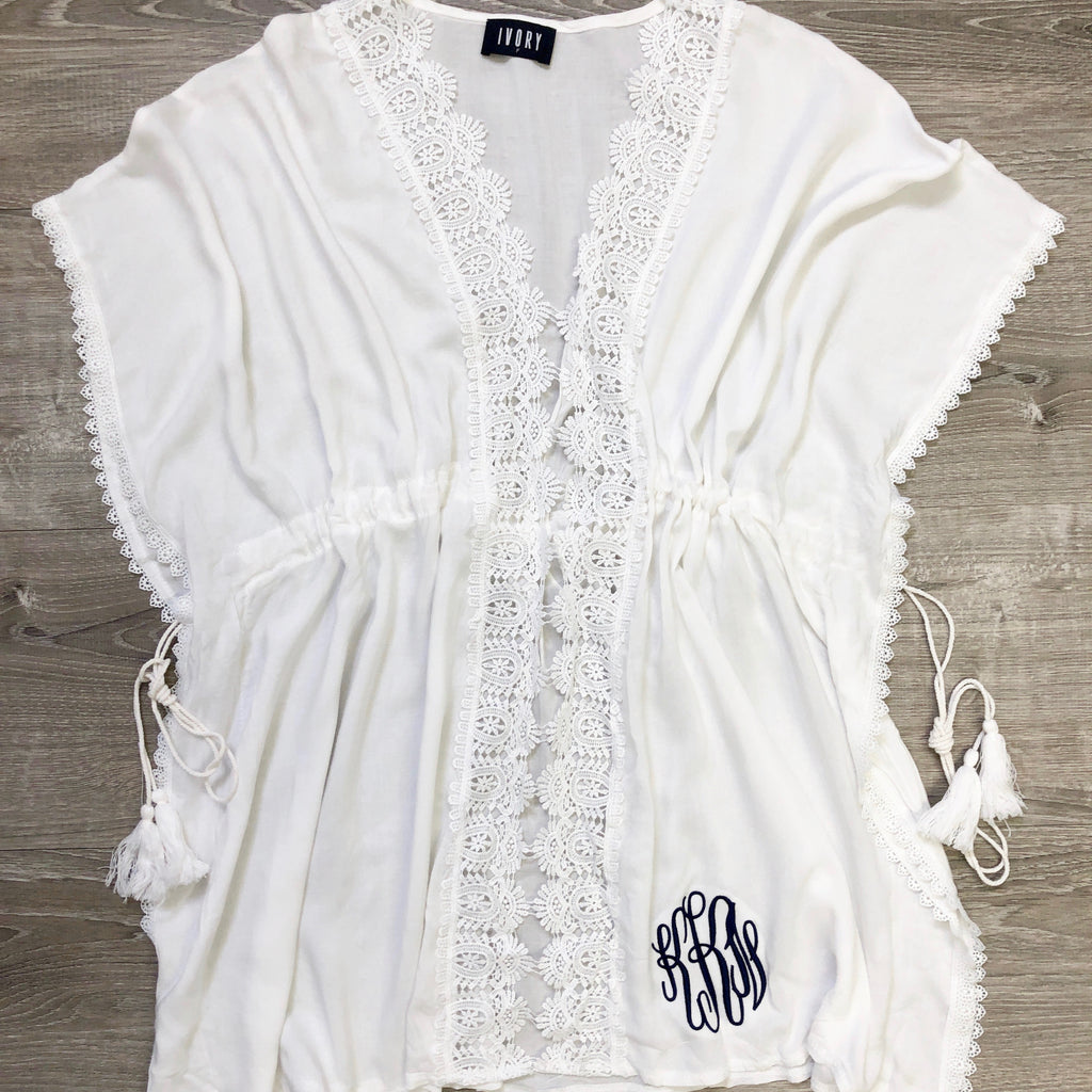 Monogram White Embroidered Cover Up