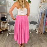 Take Me to Brunch Pink Pleated Skirt