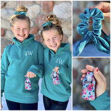 Monogram Girls Teal Quarter Zip Pullover