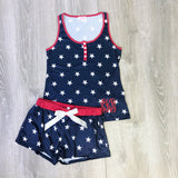 Monogram USA Stars Pajama Shorts Set