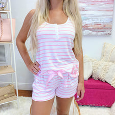 Monogram Pink & White Striped Pajama Shorts Set