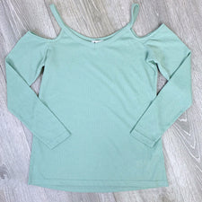 Mint Green Waffle Cold Shoulder Top
