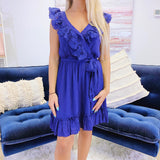 Monogram Navy Eyelet Ruffle Dress