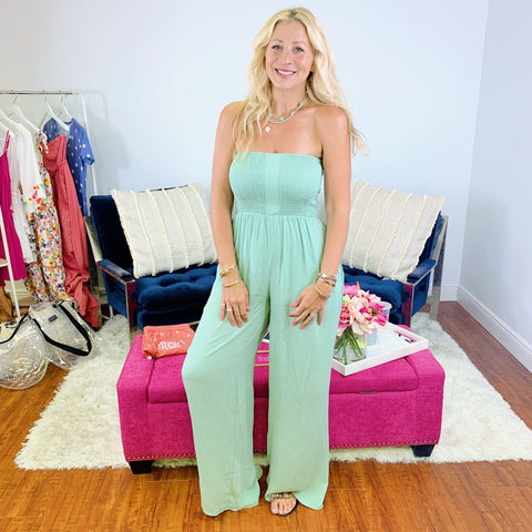 See Me Shine Strapless Jumpsuit