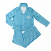 Monogram Blue Striped Pajama Set