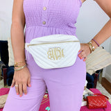 Monogram White Chevron Fanny Pack