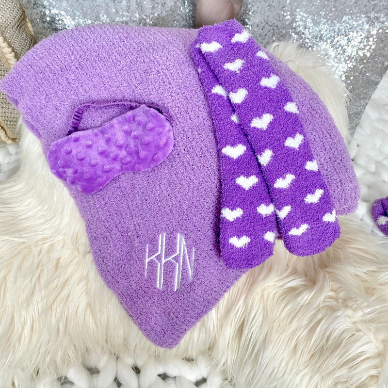 Monogram Girls Plush Lilac Blanket Set
